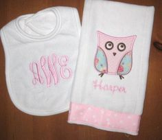 Monogrammed Bib and Burp Cloth Set for Baby Girl with Applique Owl. $22.00, via Etsy.
