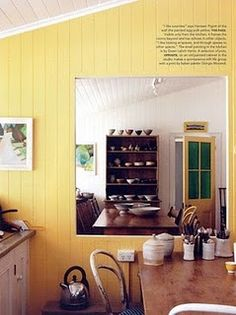 painted paneling - yellow gonna do this in my kitchen/dining