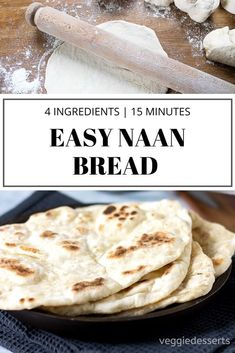 Quick and Easy Naan Bread Recipe (yeast-free) This tasty, light and fluffy easy naan bread recipe is ready in just 15 minutes with 4 ingredients! Easily vegan, gluten-free and a quick yeast free bread. Step by step picture tutorial. Quick Naan Bread Recipe, Homemade Naan Bread, Recipes With Naan Bread, Vegan Recipes With Yeast, Easy Naan Bread Recipe No Yeast No Yogurt, Flat Bread Dough Recipe, Recipes With Flour, Bread With No Yeast, Naan Bread Recipe No Yogurt