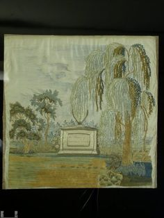 Antique American Silk Embroidered Mourning Picture | eBay