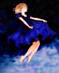 anime, stars, and manga image Anime Galaxy, Galaxy Art, Haruki Murakami, Art Manga, Manga Girl, Anime Girls, Starry Night Dress, Look At The Stars, Animation