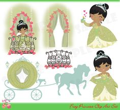 Frog Princess Clip Art Set by 1EverythingNice on Etsy, $5.00