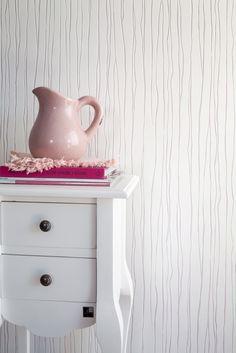 Wallpaper Fleurie Magnolia stripes White Pink / Behang Fleurie strepen Wit Roze - BN Wallcoverings
