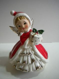 Vintage Lefton Napco Norcrest Christmas Angel Shopper Girl Music Box | eBay