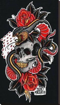 Snake and Skull by El Brad Mariachi Sperent Tattoo Canvas Art Print tattoo for men tattoos tattoo tattoo japones tattoo tattoo traditional Japanese Tattoo Designs, Japanese Tattoo Art, Stretched Canvas Prints, Canvas Art Prints, Tatuagem Old School, Japanese Embroidery, Neo Traditional Tattoo, Painting Edges, Skull Art