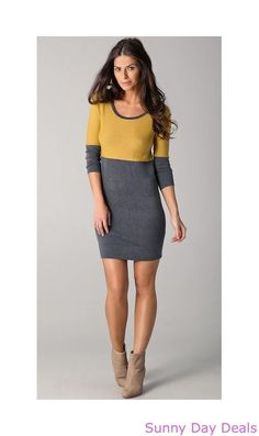 Rag & Bone Dress Burnley Sweater ColorBlock Cashmere Cotton 3/4 Sleeve M L  #ragbone #SweaterDress #Versatile