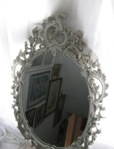 Mirror floral and vintage on pinterest for Floor mirror italian baroque rococo style in lacquer finish