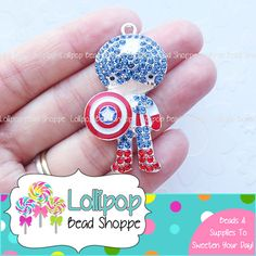 46mm CAPTAIN AMERICA Rhinestone Pendant Super Hero Pendant Character Chunky Necklace Pendant Crystal Bubblegum Beads Bubble Gum Beads RP41