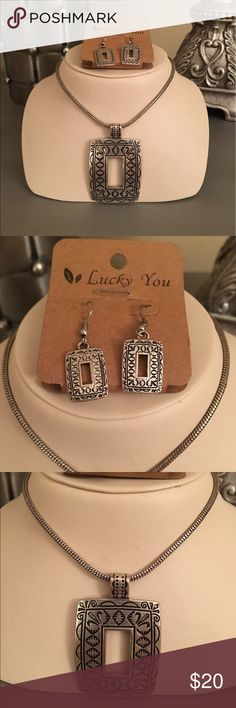 🛍 Lucky You Silver Square Necklace & Earrings Silver tone Lucky You Jewelry Necklaces