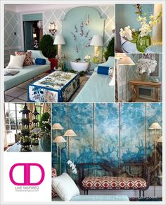 Bradshaw Orrell Interiors Designs Adamsleigh Showhouse Sun Room in blue-greens, chinoiserie and modern elegance. | The Decorating Diva, LLC