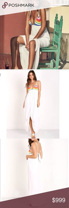 🌈Rainbow Prismatic White Maxi Dress / Swim Gown 🌈Aloha • Rainbow Prismatic White Maxi Dress / Swim Gown🌈Coming Soon! Please like listing and mention size you'd like to be notified upon arrival. Limited quantity in sizes. Size chart provided. This is a new with tags item direct from maker. Not Mara Hoffman / just a beautiful, fashion trend for Spring / Summer 2017 / Beach/ Vacation / Cruise / Tropical / Holiday / Casual / Cover up / festival 🌈 Dresses Maxi