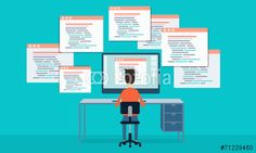 Vektor: vector people programing develop web site and application