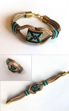 Delica Beaded Bracelet, Boho Bracelet, Peyote Bracelet, Spring Bracelet, Leather…