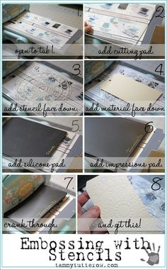 basics 101; embossing with stencils using a sizzix big shot die cutting machine; tammy tutterow