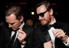 Just Benedict Cumberbatch and Michael Fassbender having a dance-off at the Golden Globes. Move along, nothing to see here.