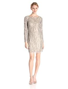 Adrianna Papell Womens Long Sleeve Beaded Cocktail Dress SilverNude 14 -- Learn more by visiting the image link.