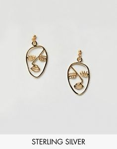 ASOS | ASOS DESIGN Gold Plated Sterling Silver Abstract Face Earrings