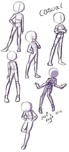 Poses Drawing Body Poses, Drawing Reference Poses, Posture Drawing, Anatomy Reference, Cartoon Drawings Of People, Drawing People, Easy People Drawings, Drawings Of Cartoons, Cartoon Drawing Styles