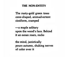 The Non-Entity, William Carlos Williams