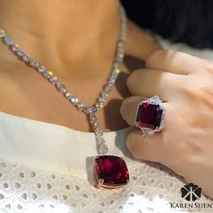 "A close up look at our magnificent Rubellite and Diamond necklace and ring from ""Red & Beyond"" collection ♥️ #KarenSuenFineJewellery"