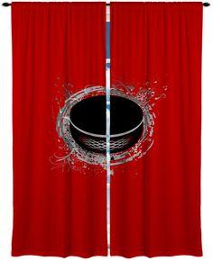 Items similar to Custom Window Curtain, Hockey Theme Shown in Red Options - Any Size - Any Colors - Any Pattern on Etsy Boys Hockey Bedroom, Hockey Nursery, Hockey Room, Garage Theme Bedroom, Bedroom Themes, Bedroom Ideas, Hockey Decor, Hockey Gifts, Minnesota Wild Hockey