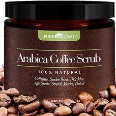 Pure Original Organic Arabica Coffee  Scrub Best Cellulite Acne Stretch Marks Wrinkles Treatment With Dead Sea Salt Olive Oil Shea Butter Natural Exfoliator Moisturizer Promoting Radiant Skin *** Visit the image link more details.(This is an Amazon affiliate link)