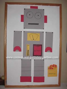 Have numerous shapes of construction paper, foam, googlie eyes, tinfoil pieces, solid color shaped stickers, etc to have kids glue their own robot on large pieces of BB paper and then give it a name.
