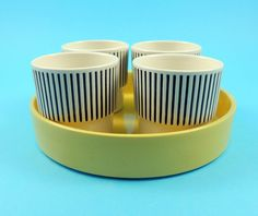 Vintage Hornsea Pottery Summertime Four Egg Cups & Stand - John Clappison