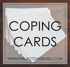 It is often difficult to access helpful, more rational thoughts when we are feeling upset. Coping cards allow us to prepare for this by writing down helpful coping statements ahead of time, so that we can read through these statements when we feel upset Group Therapy Activities, Mental Health Activities, Mental Health Counseling, Counseling Activities, Therapy Ideas, Mental Health Blogs, Therapy Tools, Play Therapy, Art Therapy