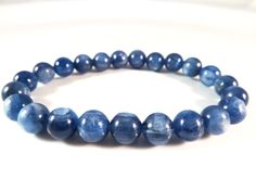 Blue Kyanite Stretch Bracelet 8mm Smooth Round High Vibration Quality Gemstone Bead by SandiLaneFineArt on Etsy