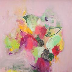 """Abstract Floral Painting Large Wall Art Canvas Painting Pink and Green feminine art """"English Garden 1"""" by DUEALBERI on Etsy https://www.etsy.com/listing/229909779/abstract-floral-painting-large-wall-art"""