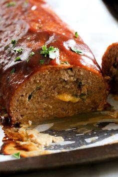 cheese stuffed turkey meatloaf | skinny taste