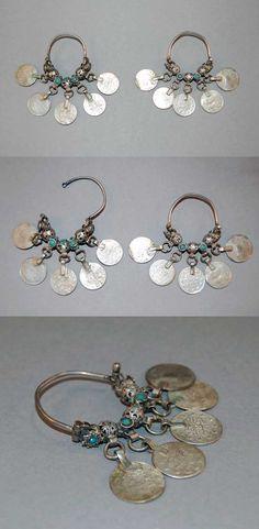 Levant - Lebanon, Tripoli | Pair of earrings ~ halāq ~ silver, blue glass beads and Ottoman pendant coins | ca. late 19th century // 2013,6033.4.a-b