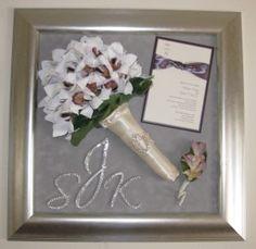 Wedding shadow box. I will probably want something similar done with my stuff. cute idea!