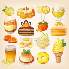 Descargar - Color limón y naranja postres — Ilustración de stock #102157932