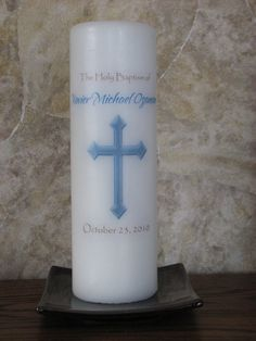 Baptism or Christening Candle  Personalized  Blue or by cktdesigns, $28.00