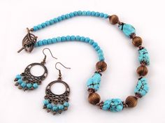 Turquoise maiden $33.00 - Ladies beaded necklace, and earring set. Turkey turquoise, and Tibet copper plated silver on tiger's tail wire and copper plated wire.