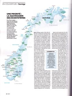 GEO / Aires protégées de Norvège / Norway's Protected Areas, map created by Hugues Piolet for GEO Magazine