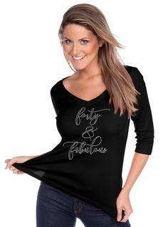 Custom Rhinestone BLiNg Forty & Fabulous Shirt 40th Birthday Shirt -- NEW ITEM!! by FreshBakedApparel on Etsy