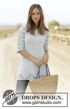 Time for Tea dress / tunic with lace pattern, raglan and 3/4 sleeves by DROPS Design  Free Knitting Pattern