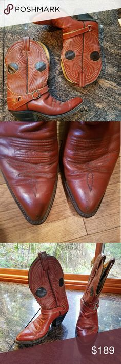 Vintage 1984 Tony Lama Women's Western Boots Vintage 1984 Tony Lama Boots Genuine Leather Man Made Heeled Boot Pointed Toe  Mother's boots. Bought in Montana in 1984 for $350. Tony Lama Shoes Heeled Boots