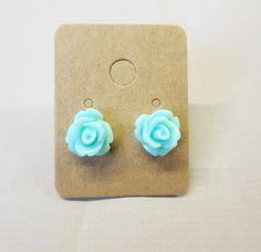 Seafoam Resin Rose Cabochons 10mm Earrings by RatDogInk on Etsy, $7.00