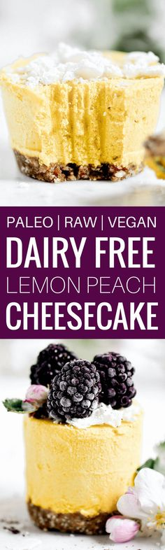 Vegan raw lemon peach mini cheesecakes with butternut squash! Paleo and dairy free. An easy recipe you can make ahead and store in the freezer.