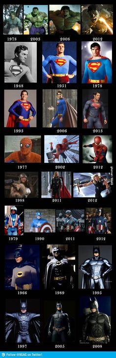 Superheroes - Then and Now Evolução dos Super Heróis