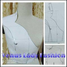 Compilation of work by Venus lady fashion. Great ways to modify patterns Sewing Paterns, Dress Sewing Patterns, Clothing Patterns, Bodice Pattern, Collar Pattern, Pattern Cutting, Pattern Making, Fashion Sewing, Diy Fashion