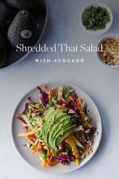 Shredded Thai Salad with Avocado  via @PureWow
