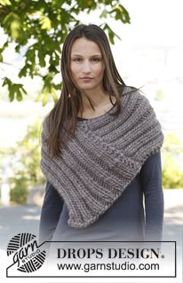 "Knitted DROPS poncho in ""Polaris"". ~ DROPS Design"