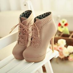 Winter Round Toe Rhinestone Lace Up Stiletto High Heels Beige Leather Knee High Boots