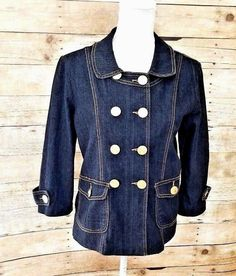 7506edfee310 DG DRAMA GOLD  Women s Double Breasted Fitted Denim Jean Jacket Size Large   DramaGold  JeanJacket  CasualCareerEveryday