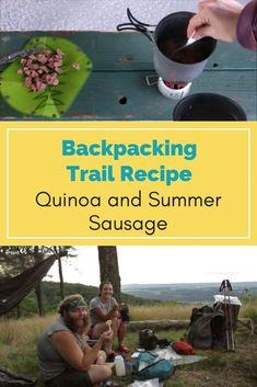 backpacking meal quinoa and summer sausage Backpacking Trails, Hiking Food, Hiking Tips, Ultralight Backpacking, Hiking Gear, Backpacking Checklist, Camping Meals, Camping Recipes, Backpacking Recipes